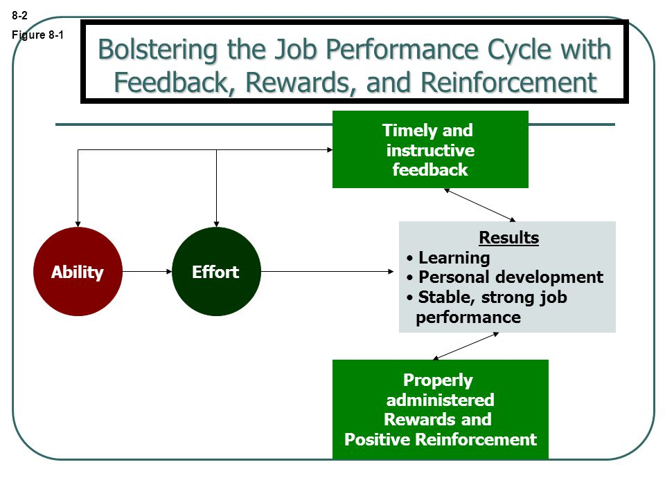 8-2 Figure 8-1 Results Learning Personal development Stable, strong job performance Properly administered Rewards and Positive Reinforcement Timely and instructive feedback EffortAbility Bolstering the Job Performance Cycle with Feedback, Rewards, and Reinforcement
