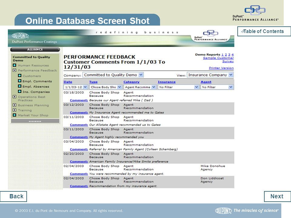 Online Database Screen Shot Next Back Table of Contents