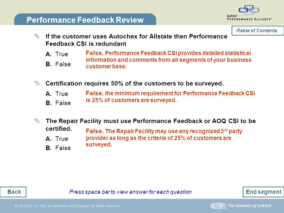 Back Table of Contents Performance Feedback Review If the customer uses Autochex for Allstate then Performance Feedback CSI is redundant A. True B. Fa