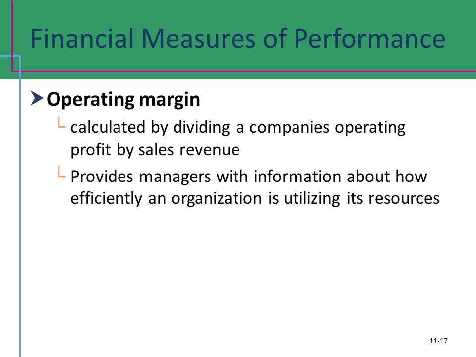 Financial Measures of Performance Operating margin calculated by dividing a companies operating profit by sales revenue Provides managers with information about how efficiently an organization is utilizing its resources 11-17