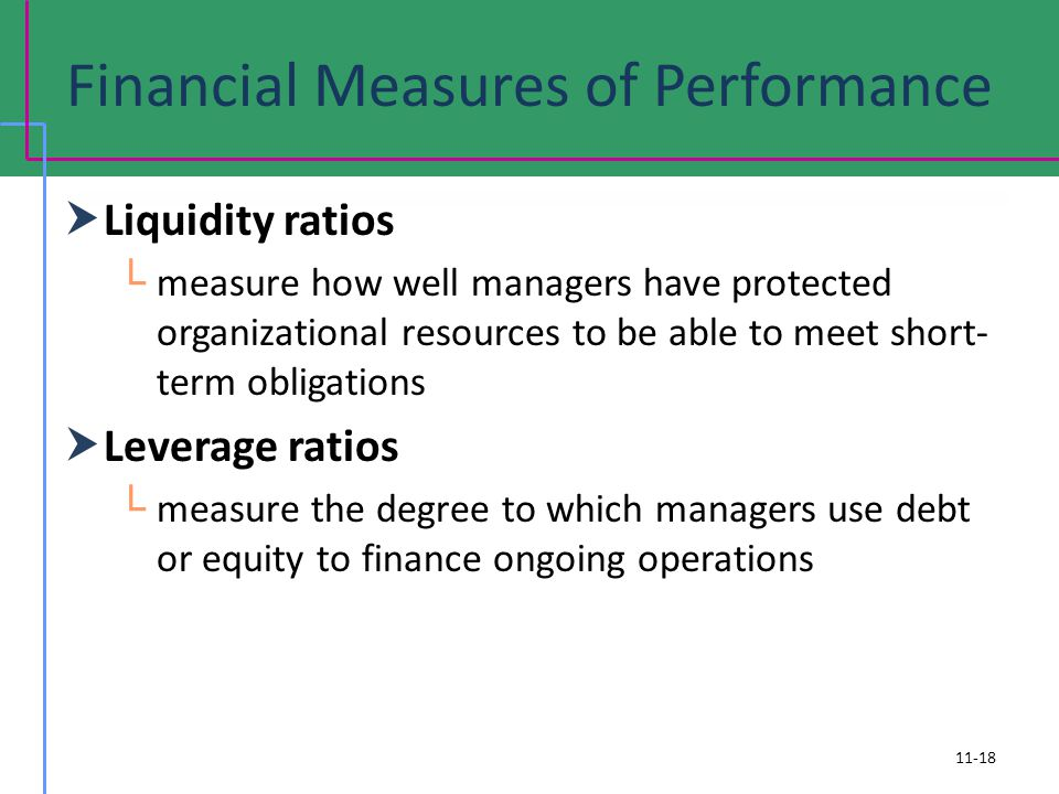 Financial Measures of Performance Liquidity ratios measure how well managers have protected organizational resources to be able to meet short- term ob