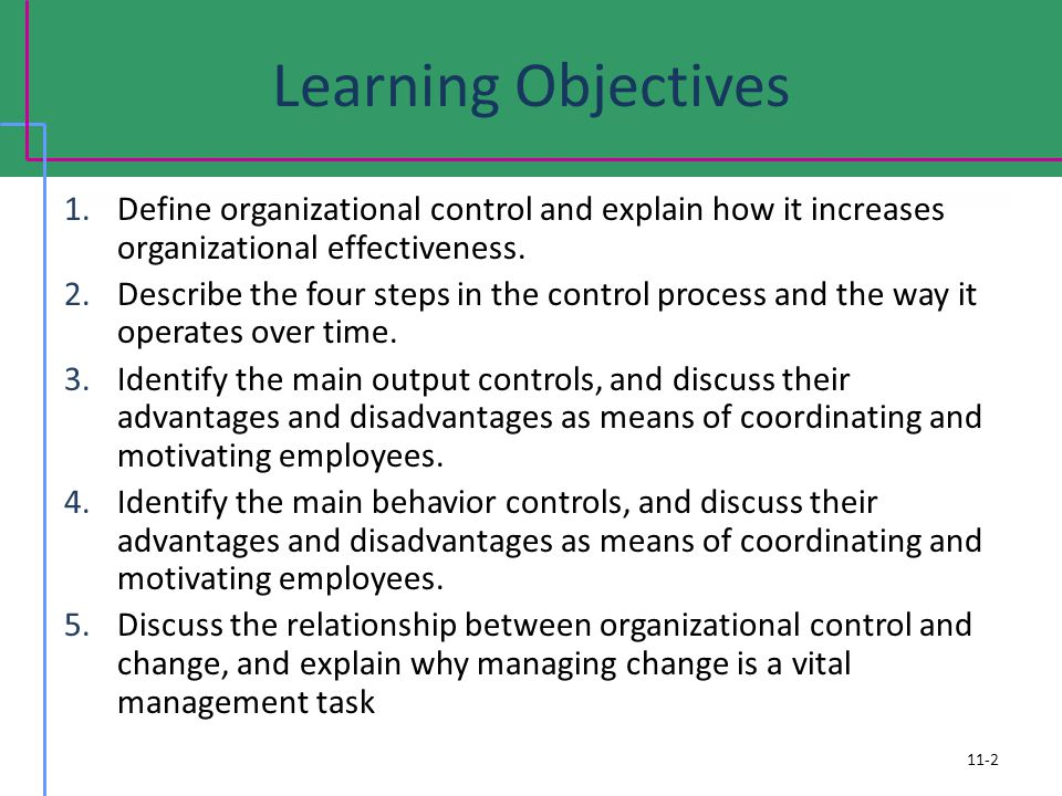 Learning Objectives 1.Define organizational control and explain how it increases organizational effectiveness.