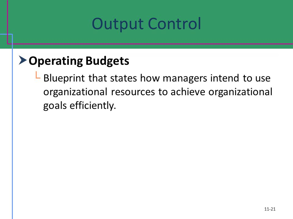 Output Control Operating Budgets Blueprint that states how managers intend to use organizational resources to achieve organizational goals efficiently.