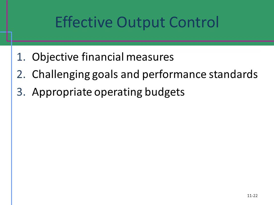 Effective Output Control 1.Objective financial measures 2.Challenging goals and performance standards 3.Appropriate operating budgets 11-22