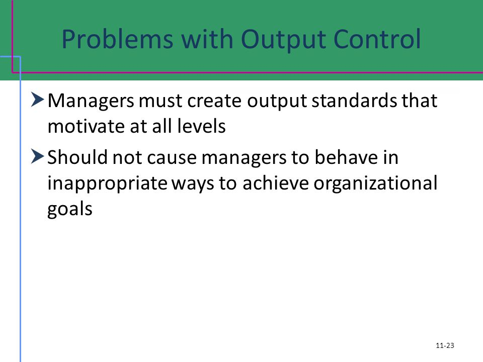 Problems with Output Control Managers must create output standards that motivate at all levels Should not cause managers to behave in inappropriate ways to achieve organizational goals 11-23