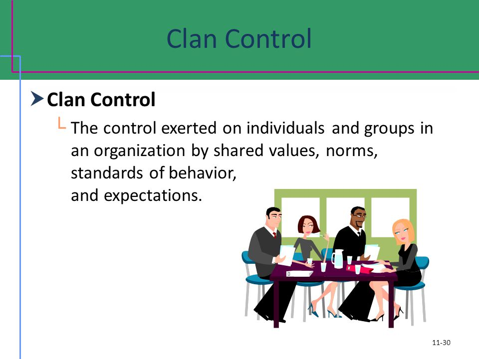 Clan Control The control exerted on individuals and groups in an organization by shared values, norms, standards of behavior, and expectations. 11-30