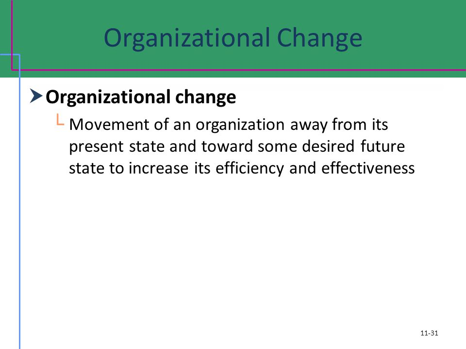 Organizational Change Organizational change Movement of an organization away from its present state and toward some desired future state to increase its efficiency and effectiveness 11-31