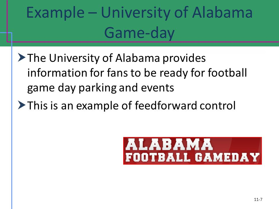 Example – University of Alabama Game-day 11-7 The University of Alabama provides information for fans to be ready for football game day parking and ev