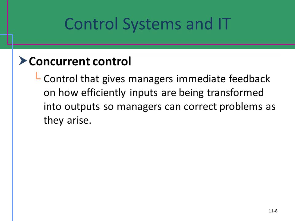 Control Systems and IT Concurrent control Control that gives managers immediate feedback on how efficiently inputs are being transformed into outputs