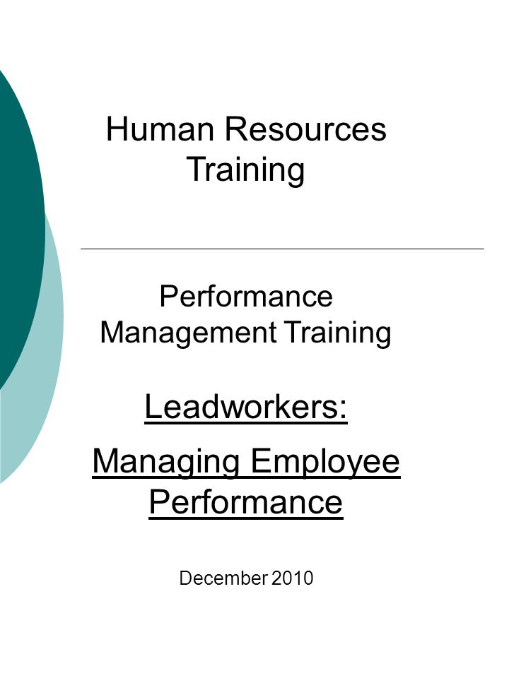 Objectives By the end of this session participants will be able to: Understand the definition and duties of Lead Work Understand the elements of a successful performance management system.