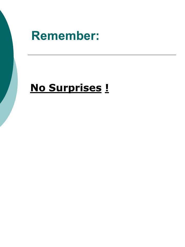 Remember: No Surprises !