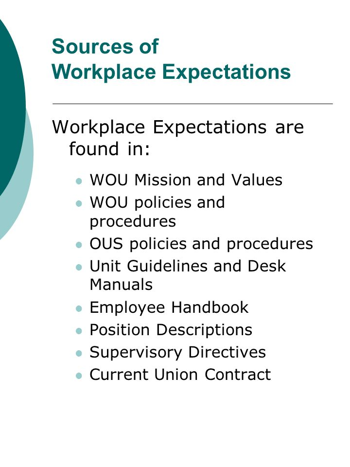 Workplace Expectations Remember: Actively listen Lead by example Recognize staff for meeting or exceeding Hold staff accountable Regularly communicate expectations Be mindful of your method of communicating your expectations