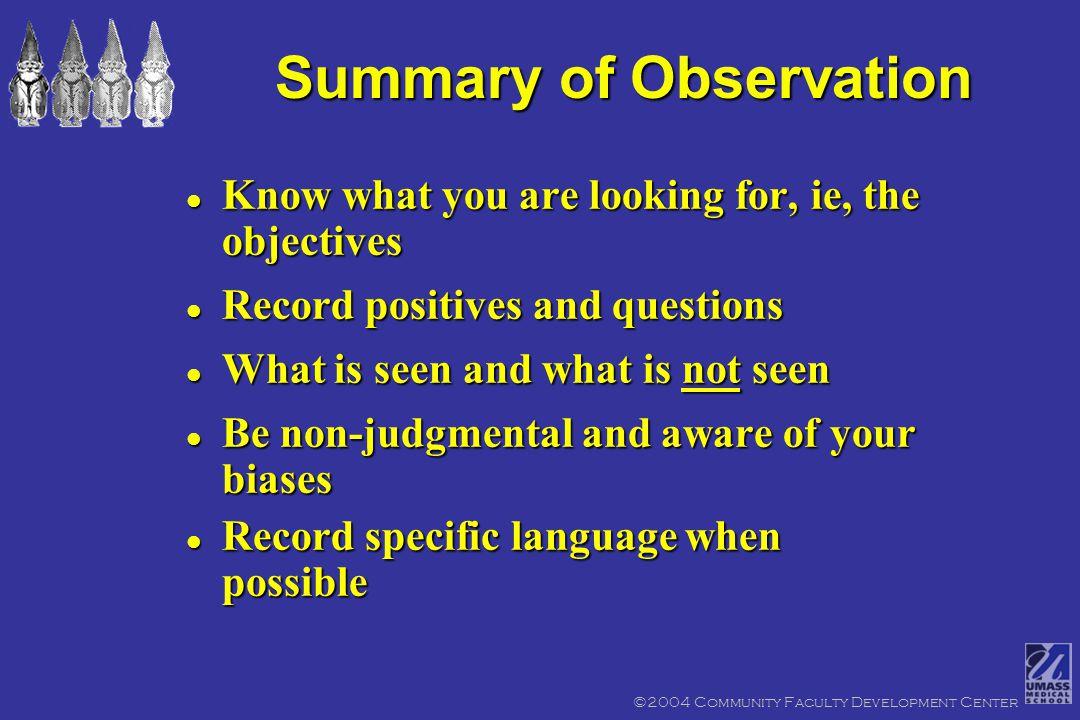 Teaching Observation Sheet ©2004 Community Faculty Development Center