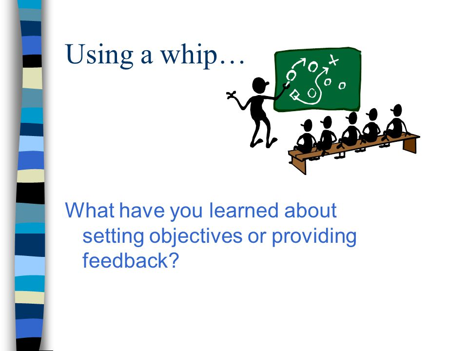 Using a whip… What have you learned about setting objectives or providing feedback?