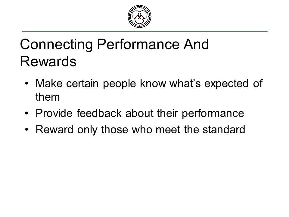 Connecting Performance And Rewards Make certain people know whats expected of them Provide feedback about their performance Reward only those who meet the standard