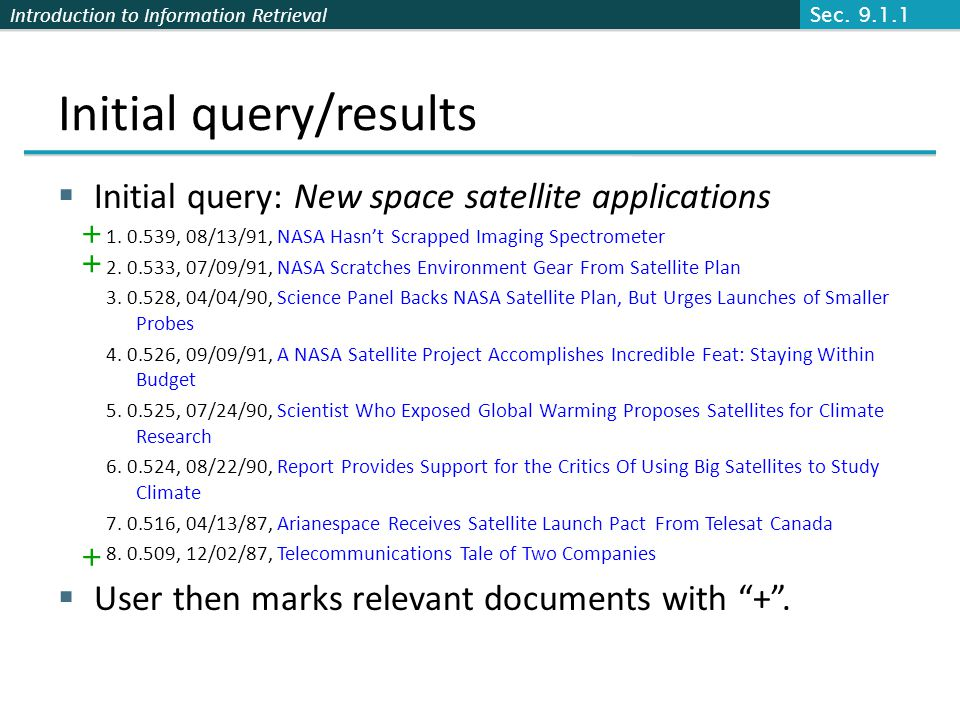 Introduction to Information Retrieval Initial query/results Initial query: New space satellite applications 1. 0.539, 08/13/91, NASA Hasnt Scrapped Im