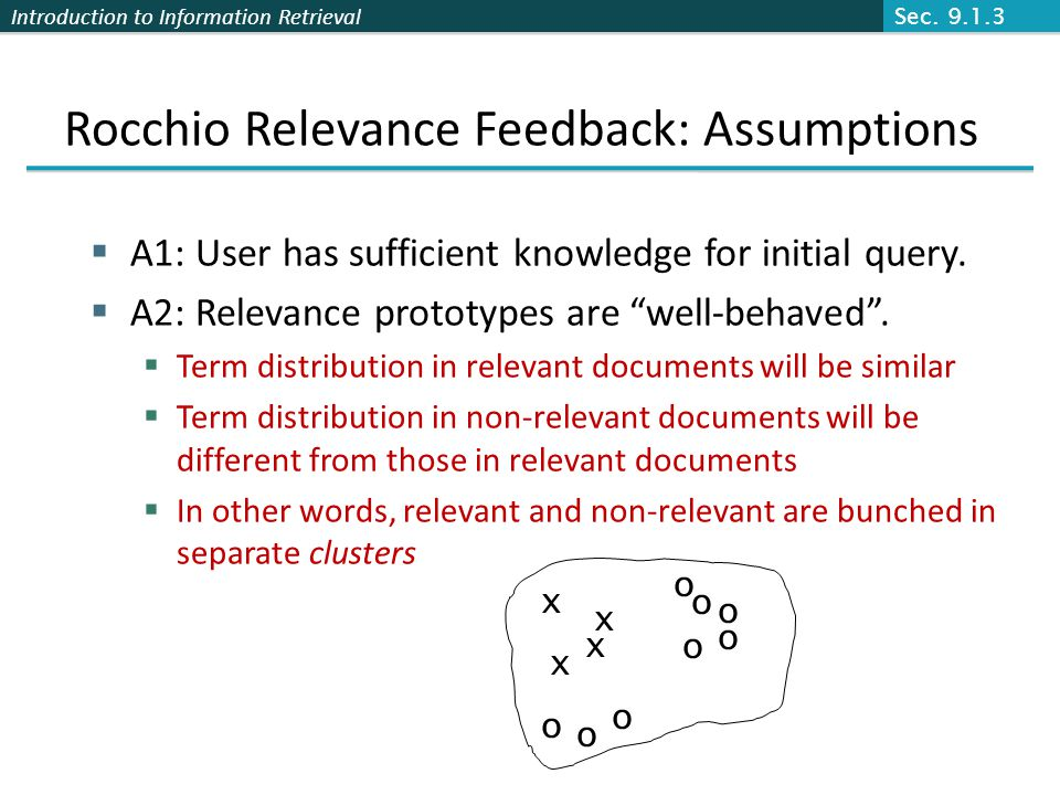 Introduction to Information Retrieval Rocchio Relevance Feedback: Assumptions A1: User has sufficient knowledge for initial query. A2: Relevance proto