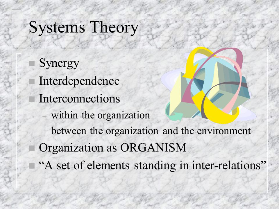 Systems Theory n Synergy n Interdependence n Interconnections – within the organization – between the organization and the environment n Organization