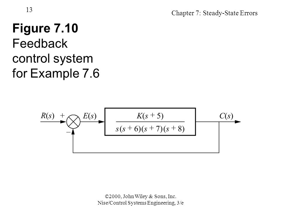 Chapter 7: Steady-State Errors 13 ©2000, John Wiley & Sons, Inc.