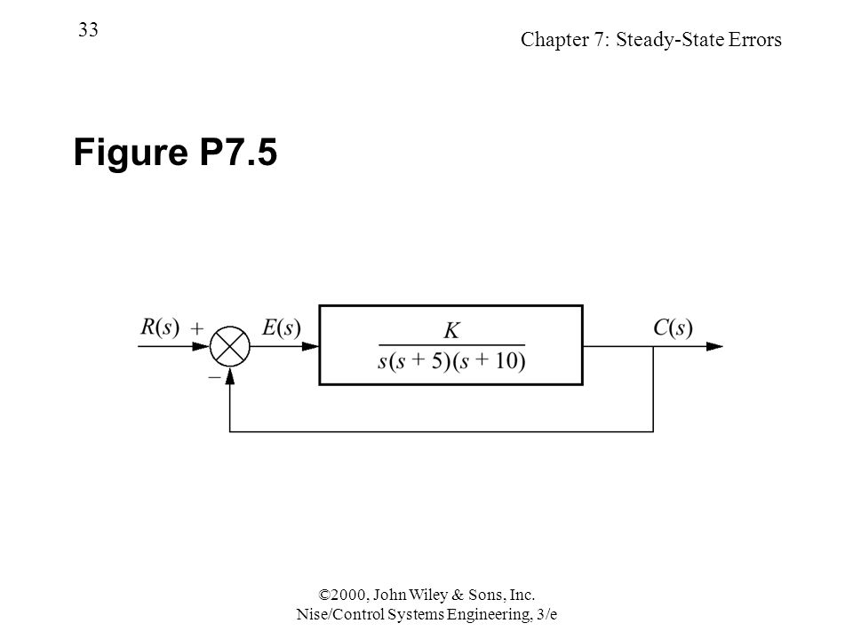 Chapter 7: Steady-State Errors 33 ©2000, John Wiley & Sons, Inc.