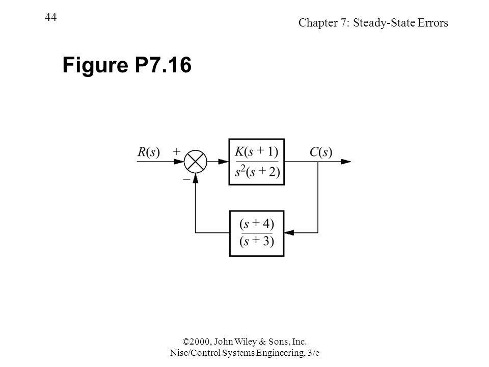 Chapter 7: Steady-State Errors 44 ©2000, John Wiley & Sons, Inc.