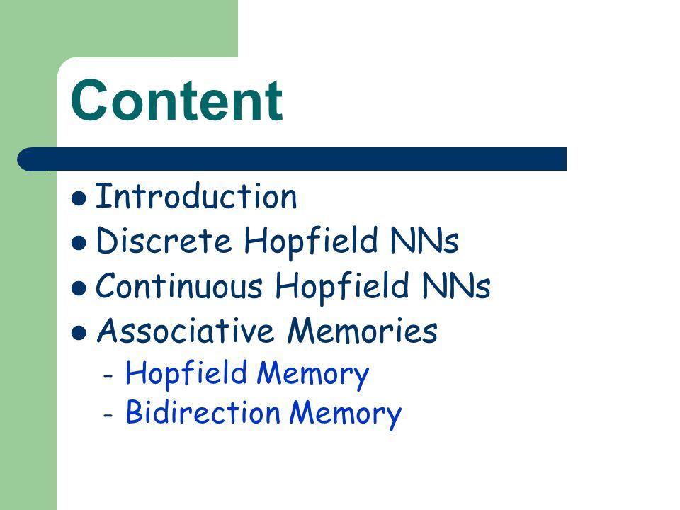 Content Introduction Discrete Hopfield NNs Continuous Hopfield NNs Associative Memories – Hopfield Memory – Bidirection Memory