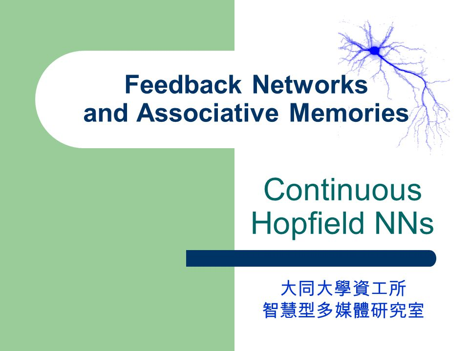 Feedback Networks and Associative Memories Continuous Hopfield NNs