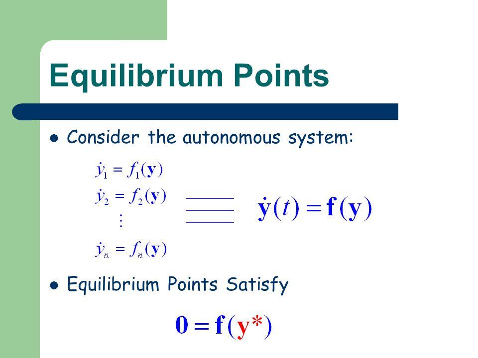 Equilibrium Points Consider the autonomous system: Equilibrium Points Satisfy