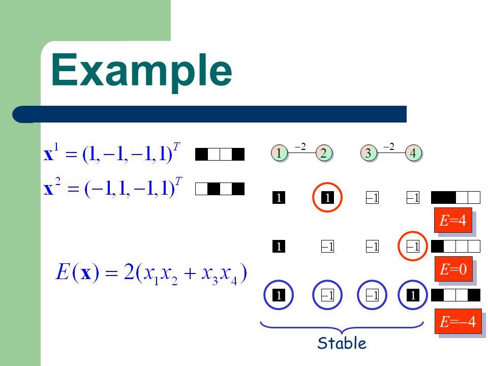 1 1 2 2 3 3 4 4 2 2 11 1 1 1 1 1 1 1 1 1 1 Stable E=4 E=0 E= 4