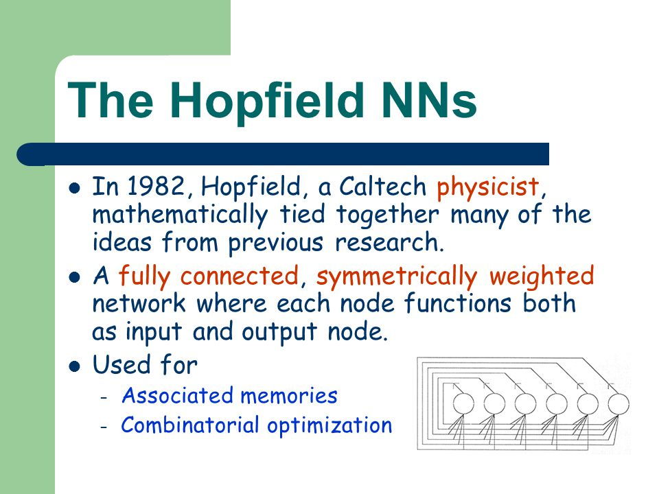 The Hopfield NNs In 1982, Hopfield, a Caltech physicist, mathematically tied together many of the ideas from previous research. A fully connected, sym