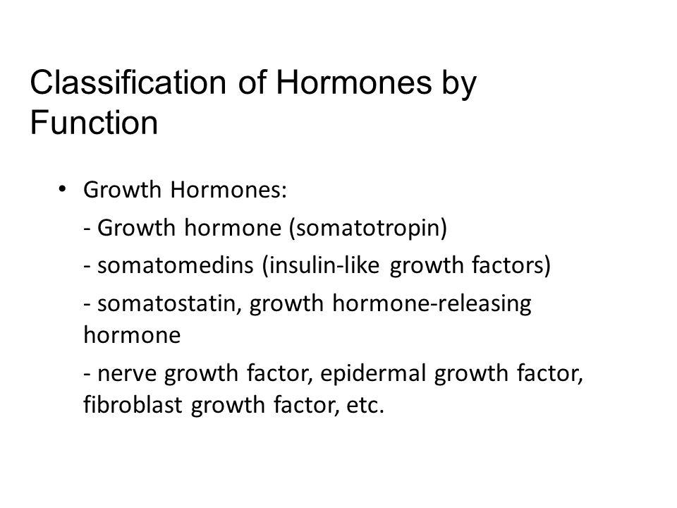 Growth Hormones: - Growth hormone (somatotropin) - somatomedins (insulin-like growth factors) - somatostatin, growth hormone-releasing hormone - nerve