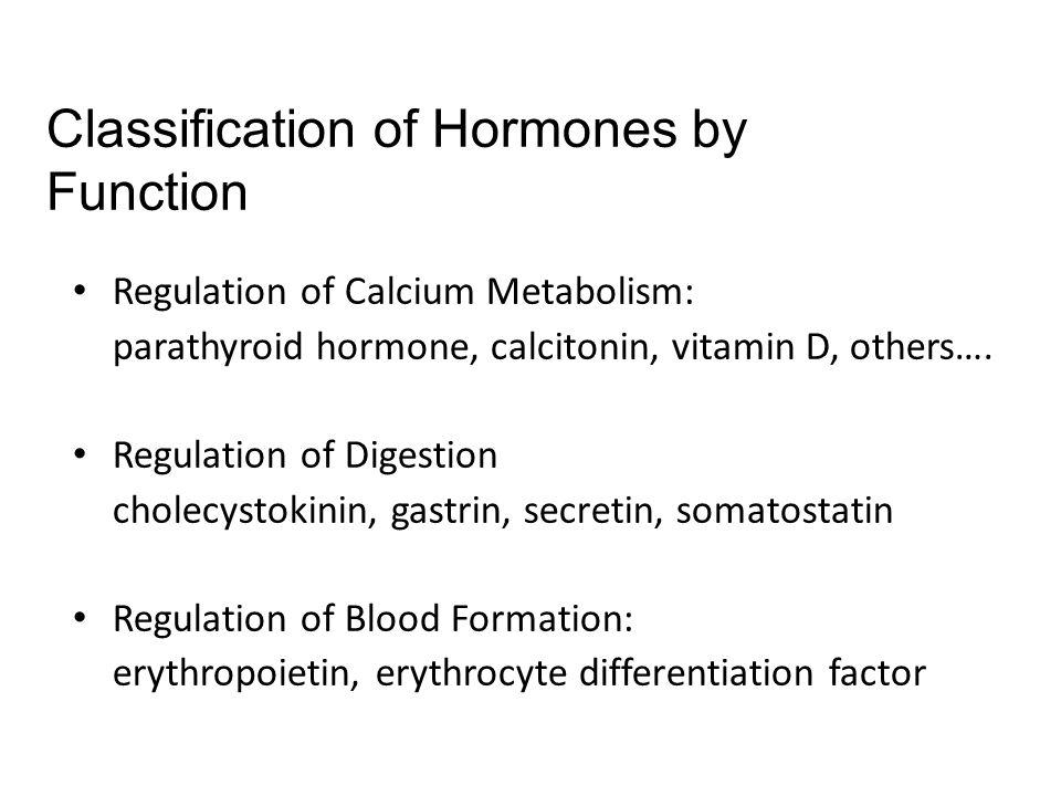 Regulation of Calcium Metabolism: parathyroid hormone, calcitonin, vitamin D, others…. Regulation of Digestion cholecystokinin, gastrin, secretin, som