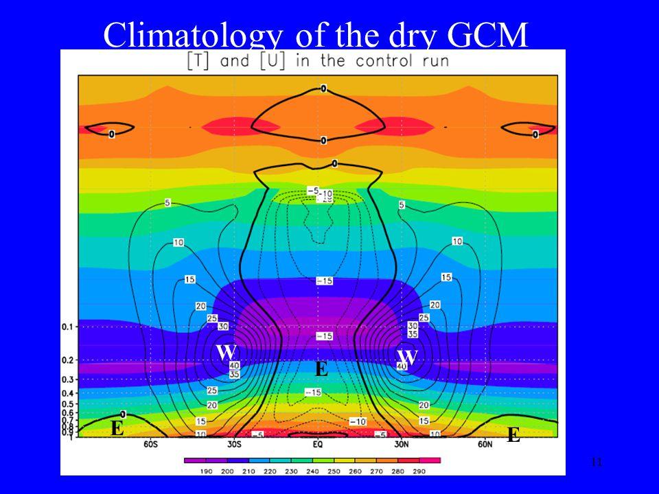 11 Climatology of the dry GCM E E E W W