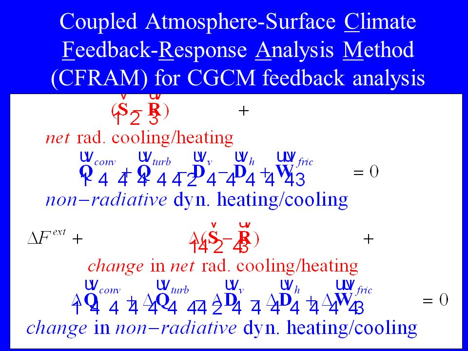 4 Coupled Atmosphere-Surface Climate Feedback-Response Analysis Method (CFRAM) for CGCM feedback analysis