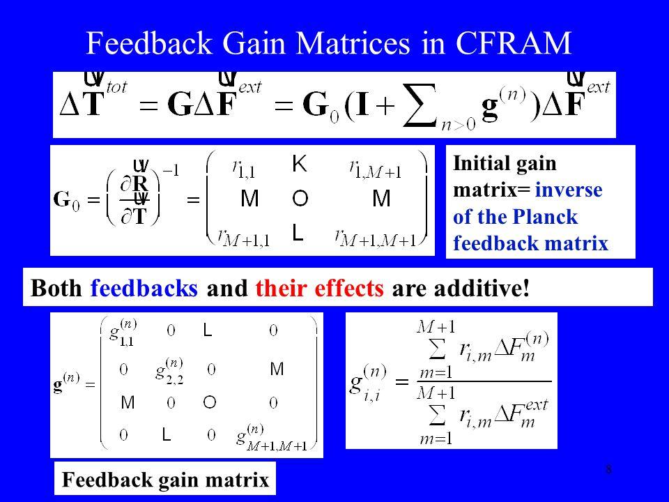 8 Feedback Gain Matrices in CFRAM Feedback gain matrix Initial gain matrix= inverse of the Planck feedback matrix Both feedbacks and their effects are additive!