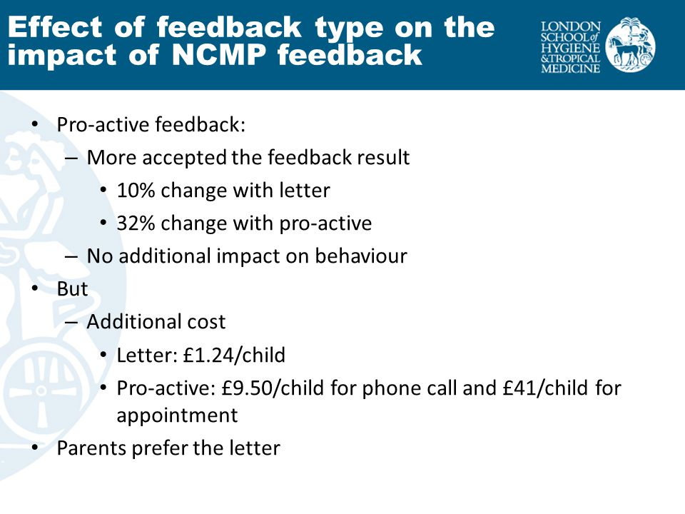 Pro-active feedback: – More accepted the feedback result 10% change with letter 32% change with pro-active – No additional impact on behaviour But – Additional cost Letter: £1.24/child Pro-active: £9.50/child for phone call and £41/child for appointment Parents prefer the letter Effect of feedback type on the impact of NCMP feedback