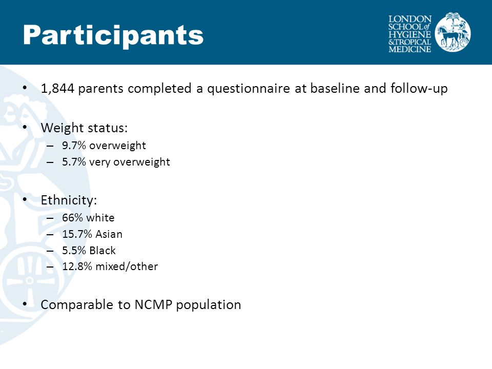 1,844 parents completed a questionnaire at baseline and follow-up Weight status: – 9.7% overweight – 5.7% very overweight Ethnicity: – 66% white – 15.