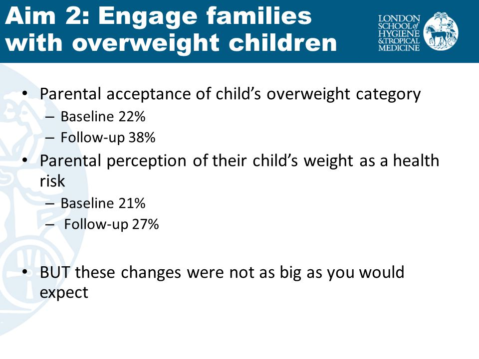 Parental acceptance of childs overweight category – Baseline 22% – Follow-up 38% Parental perception of their childs weight as a health risk – Baselin