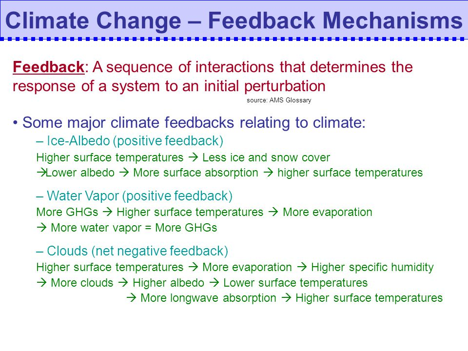 Climate Change – Feedback Mechanisms Feedback: A sequence of interactions that determines the response of a system to an initial perturbation source: AMS Glossary Some major climate feedbacks relating to climate: – Ice-Albedo (positive feedback) Higher surface temperatures Less ice and snow cover Lower albedo More surface absorption higher surface temperatures – Water Vapor (positive feedback) More GHGs Higher surface temperatures More evaporation More water vapor = More GHGs – Clouds (net negative feedback) Higher surface temperatures More evaporation Higher specific humidity More clouds Higher albedo Lower surface temperatures More longwave absorption Higher surface temperatures