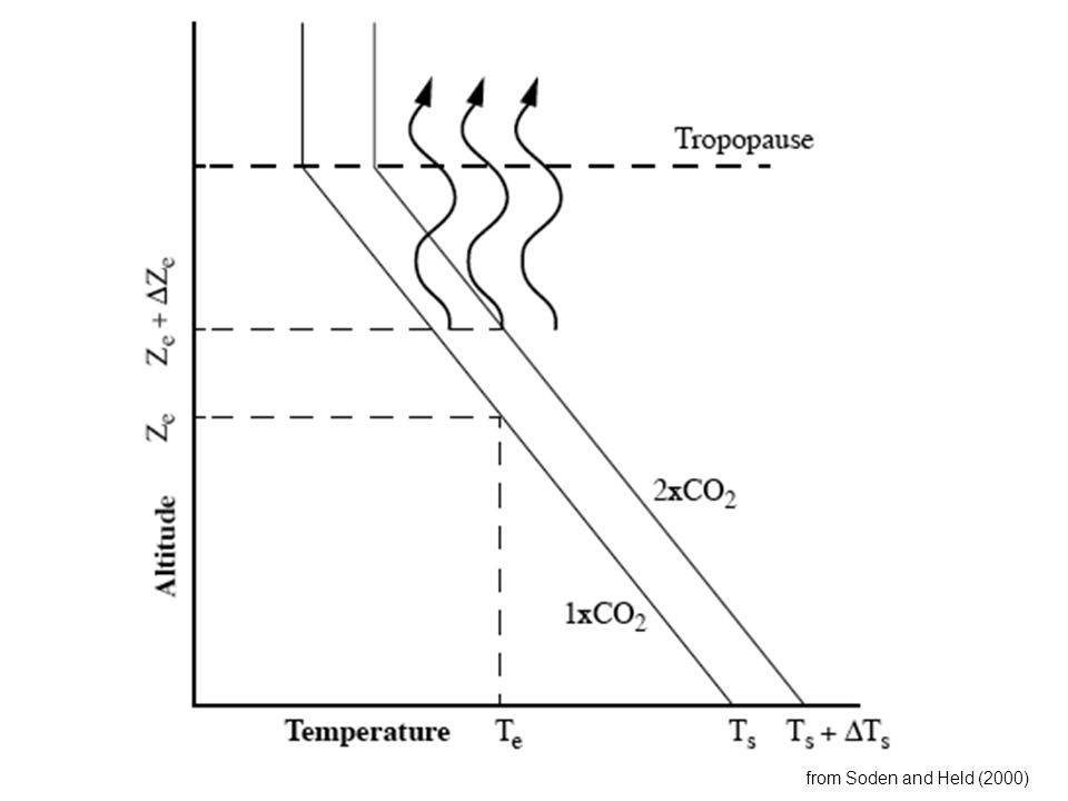 Lapse Rate Feedback The rate of temperature decay with height, or the slope of the temperature profile (lapse rate), is controlled by radiation, large-scale dynamics and convection If the lapse rate were to decrease, then the temperature of the effective level of emission would warm (negative feedback) This is a proposed negative feedback in the tropics, but it is thought to be relatively small (Zhang et al, 1994)