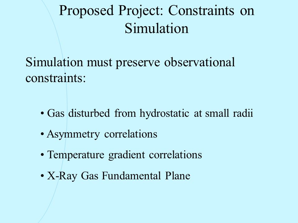 Proposed Project: Constraints on Simulation Simulation must preserve observational constraints: Gas disturbed from hydrostatic at small radii Asymmetry correlations Temperature gradient correlations X-Ray Gas Fundamental Plane