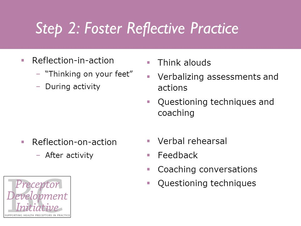 Step 2: Foster Reflective Practice Reflection-in-action –Thinking on your feet –During activity Reflection-on-action –After activity Think alouds Verbalizing assessments and actions Questioning techniques and coaching Verbal rehearsal Feedback Coaching conversations Questioning techniques