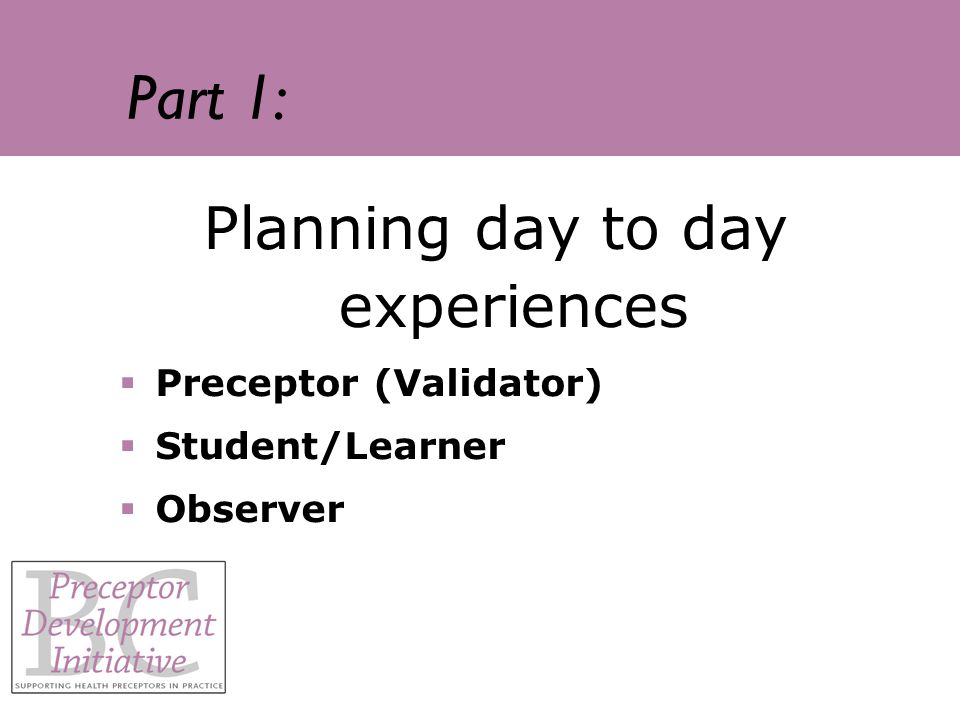 Part 1: Planning day to day experiences Preceptor (Validator) Student/Learner Observer