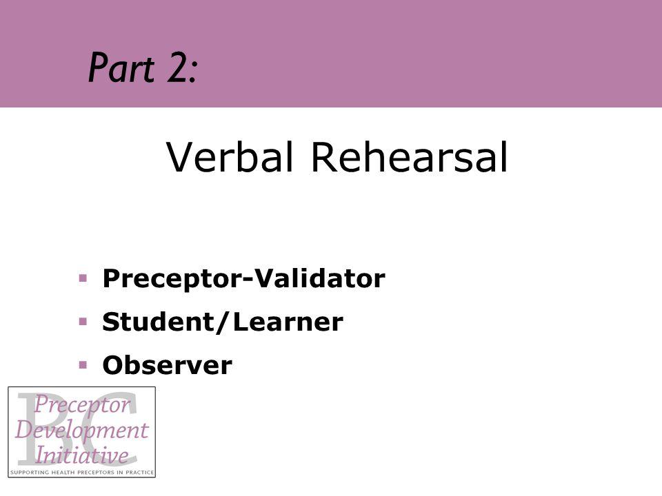 Part 2: Verbal Rehearsal Preceptor-Validator Student/Learner Observer
