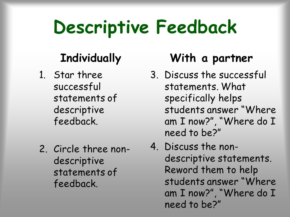 Descriptive Feedback Individually 1.Star three successful statements of descriptive feedback. 2.Circle three non- descriptive statements of feedback.