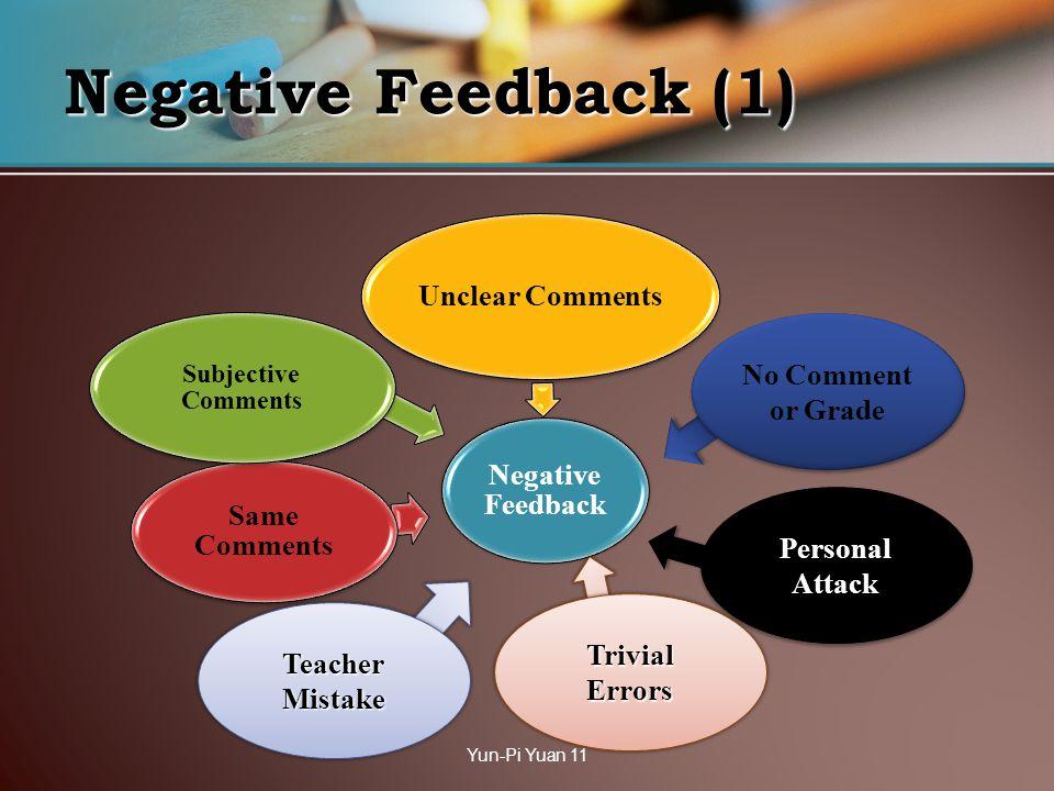 Negative Feedback (1) Negative Feedback Unclear Comments Same Comments Subjective Comments No Comment or Grade Yun-Pi Yuan 11 Personal Attack Trivial