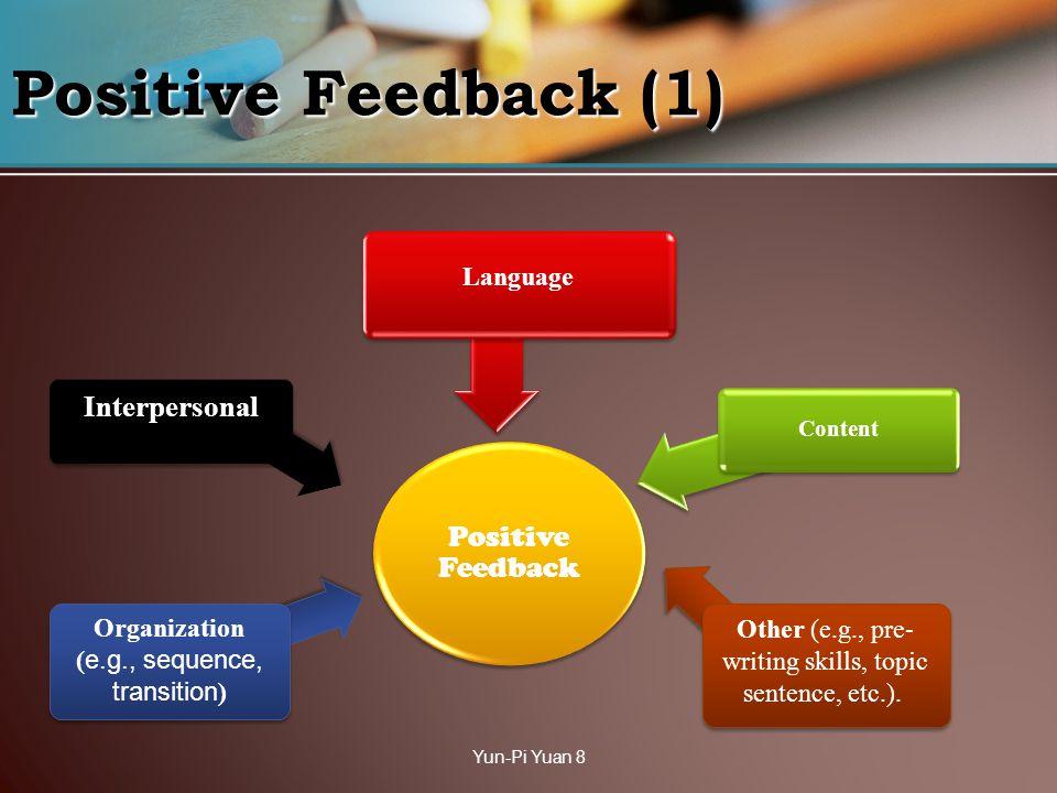 Positive Feedback (1) Positive Feedback Language Content Interpersonal Yun-Pi Yuan 8 Organization ( e.g., sequence, transition ) Other (e.g., pre- wri
