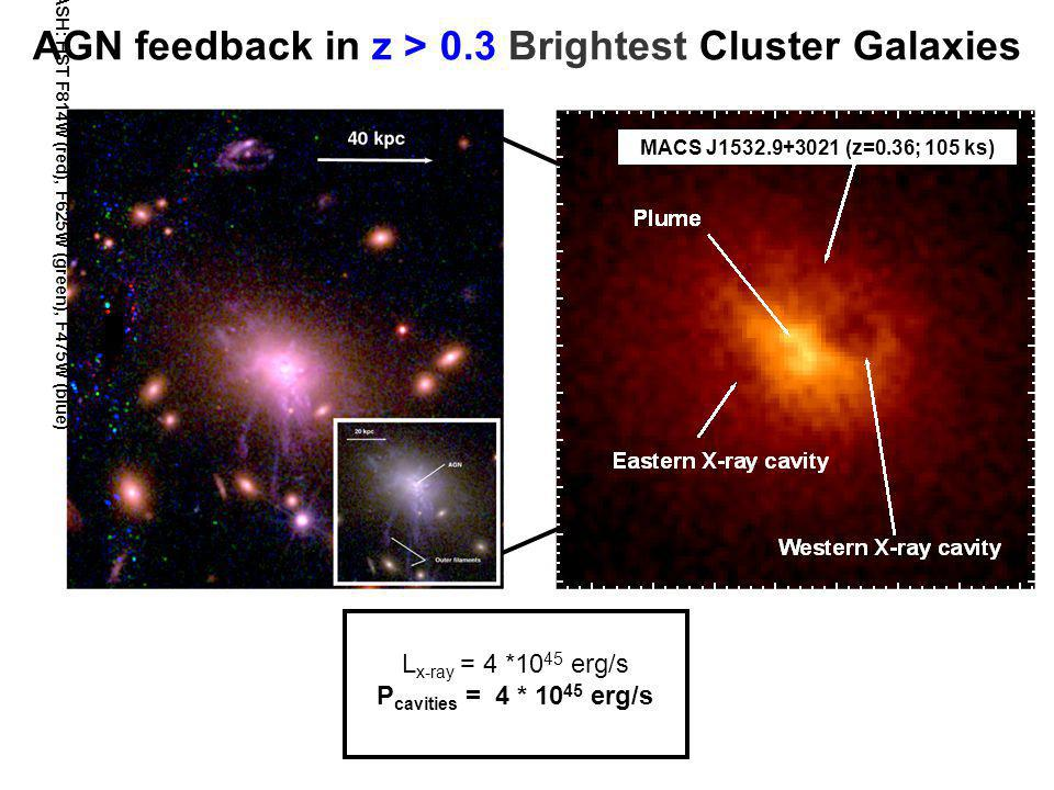AGN feedback in z > 0.3 Brightest Cluster Galaxies MACS J1532.9+3021 (z=0.36; 105 ks) L x-ray = 4 *10 45 erg/s P cavities = 4 * 10 45 erg/s CLASH: HST F814W (red), F625W (green), F475W (blue)