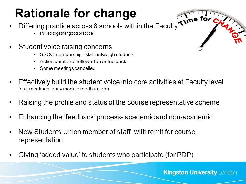 Rationale for change Differing practice across 8 schools within the Faculty Pulled together good practice Student voice raising concerns SSCC membersh