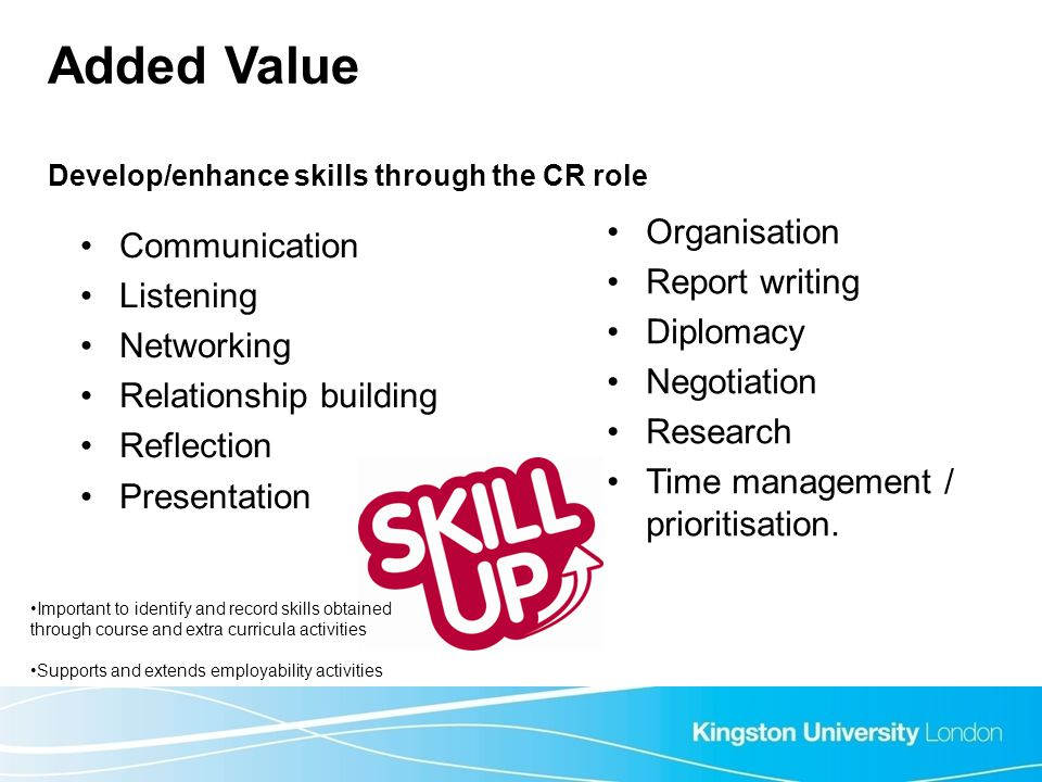 Added Value Develop/enhance skills through the CR role Communication Listening Networking Relationship building Reflection Presentation Organisation R